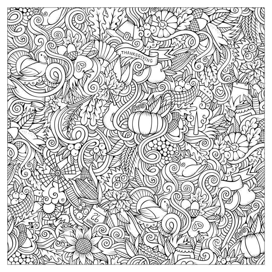 Cartoon vector hand drawn doodles : thanksgiving autumn ...