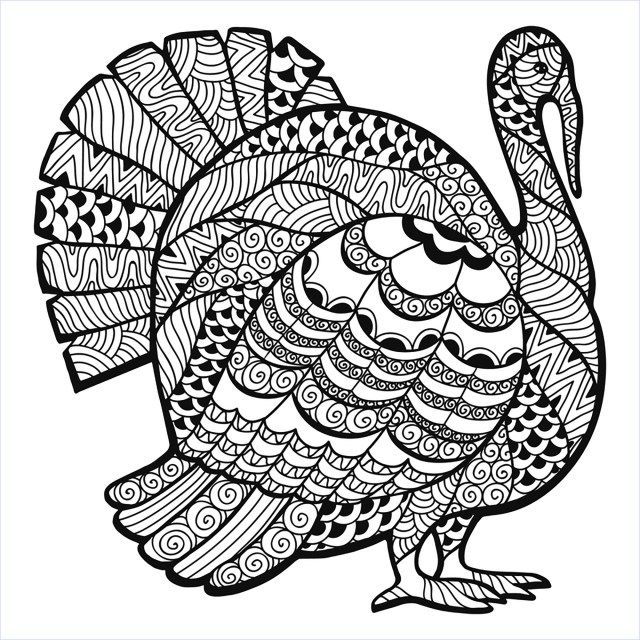 coloring page thanksgiving zentangle turkey by Elena Medvedeva