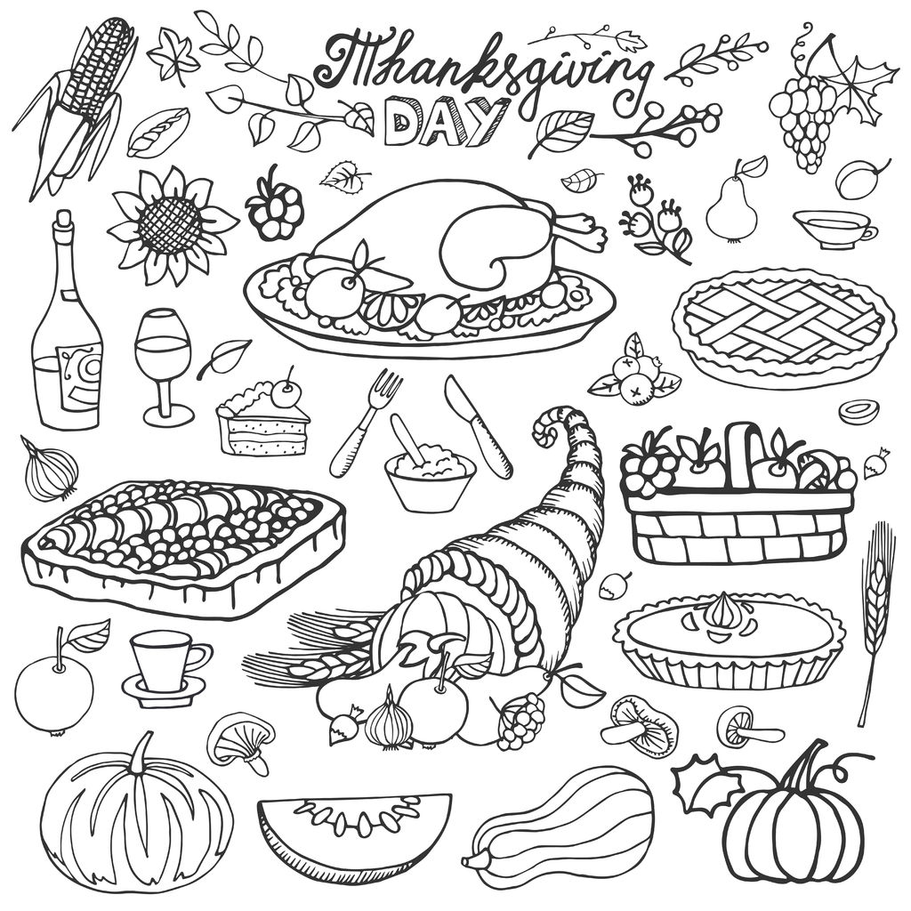 Thanksgiving Cornucopia And Turkey