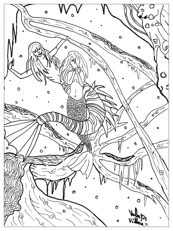 mermaid coloring pages for adults # 76