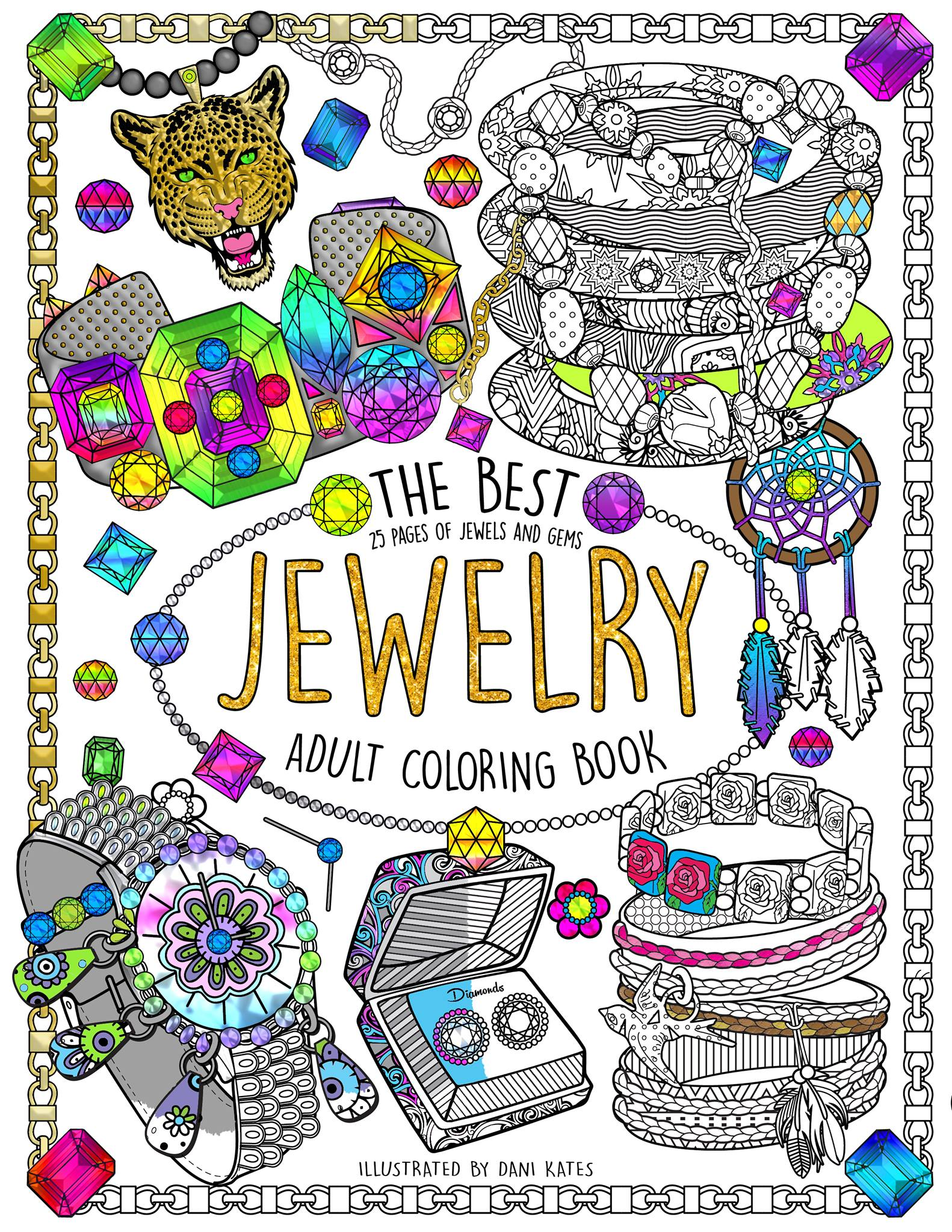 Book Jewelry Cover Fashion Adult Coloring Pages