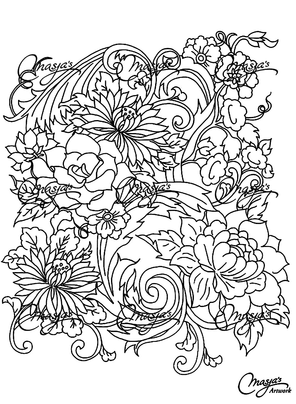Drawing flower - Flowers Adult Coloring Pages - Page 4 | flower coloring pages for adults
