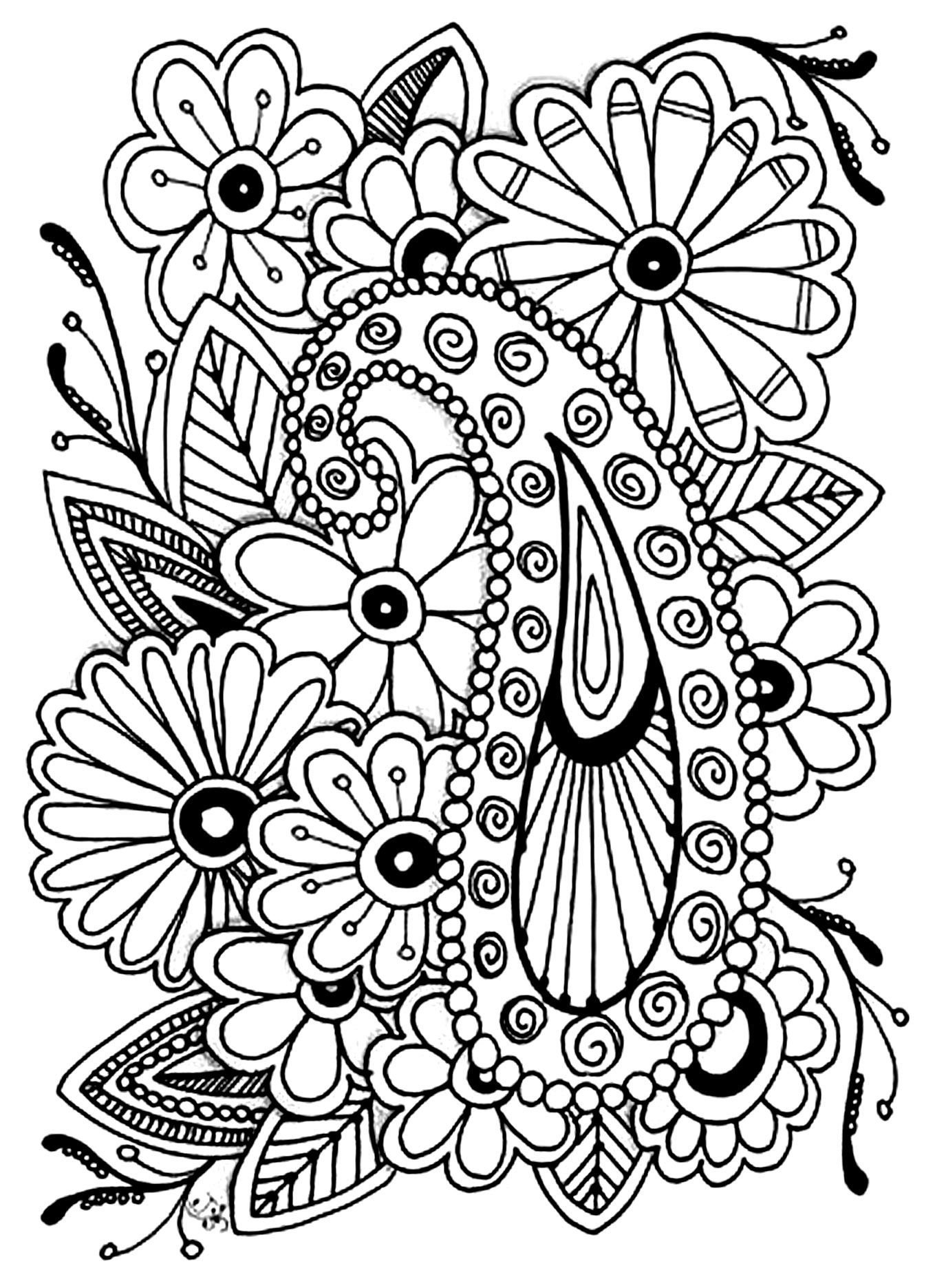 Flowers paisley - Flowers Adult Coloring Pages | colouring pages for adults flowers