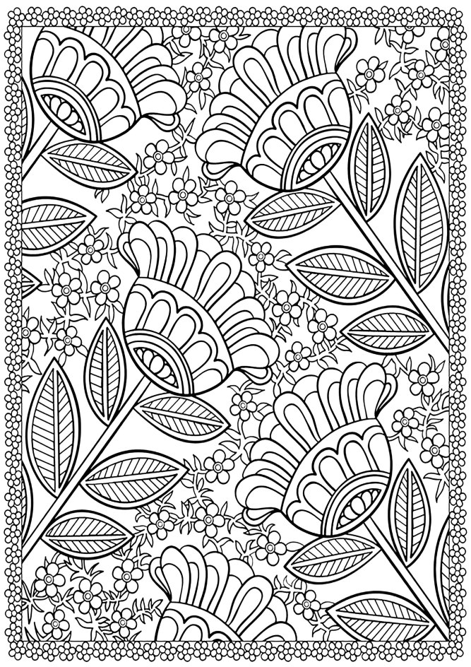 free coloring pages, Color these four flowers surrounded by small ones, with a beautiful flowered border