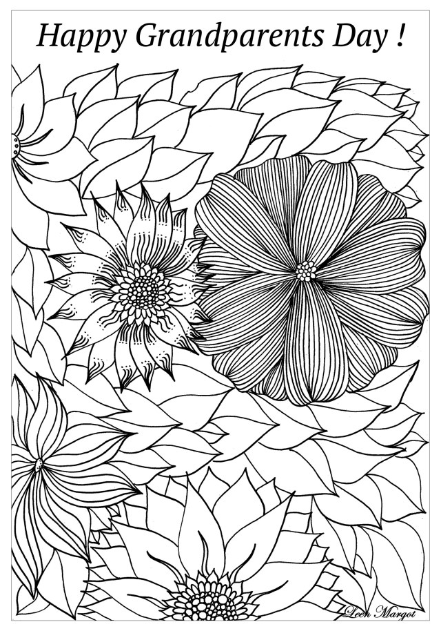 Complex happy grandparents day - Grandparents Day Adult Coloring Pages