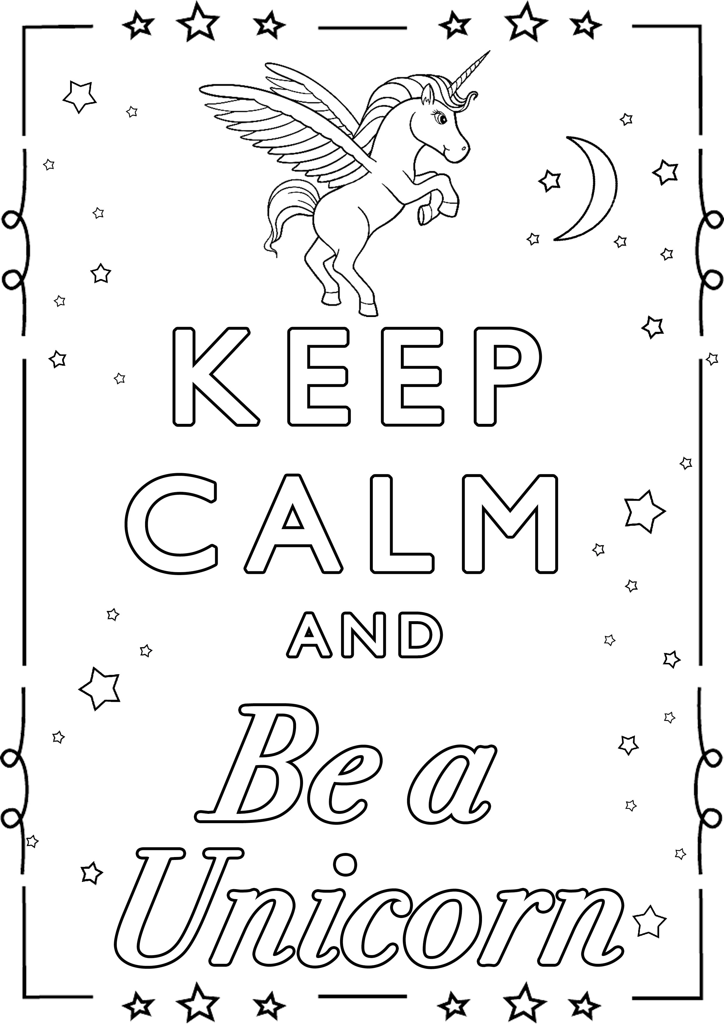 Keep Calm And Be A Unicorn Keep Calm Amp Adult Coloring