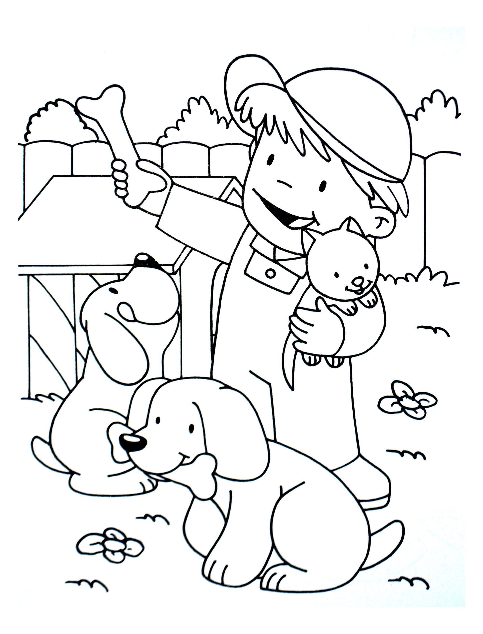Kid With A Cat And Two Dogs