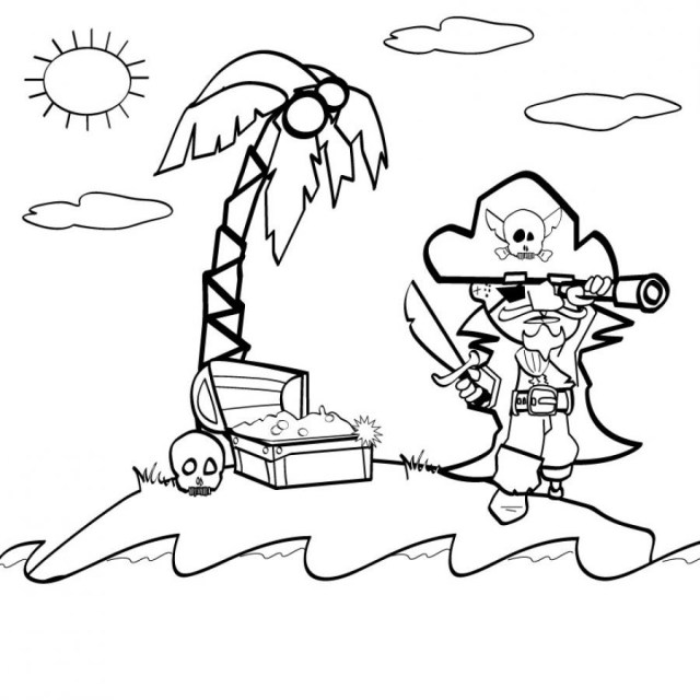 Treasure isle - Pirates Coloring pages for kids to print & color