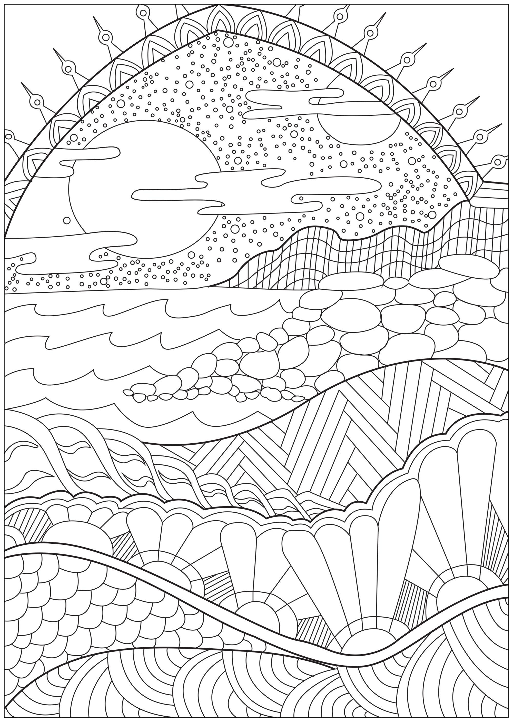 Heavenly Landscape Lampscapes Adult Coloring Pages