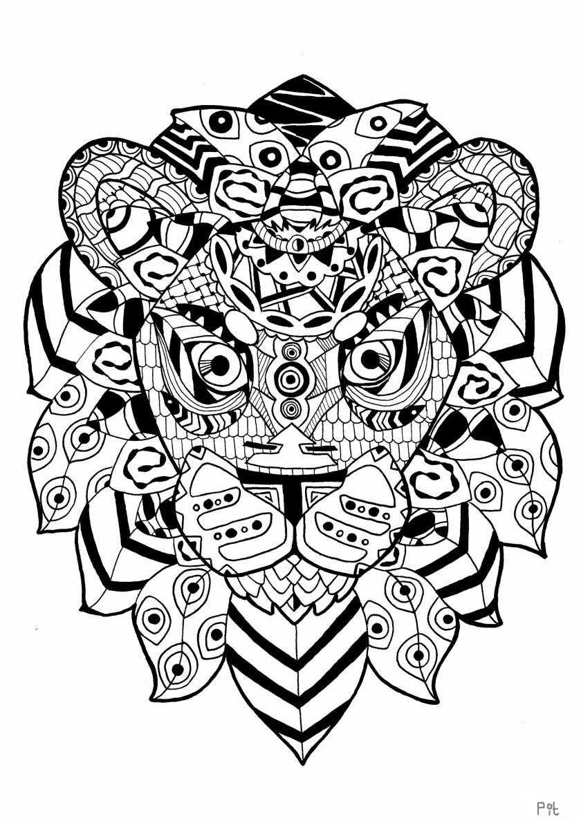 zentangle lion  lions adult coloring pages