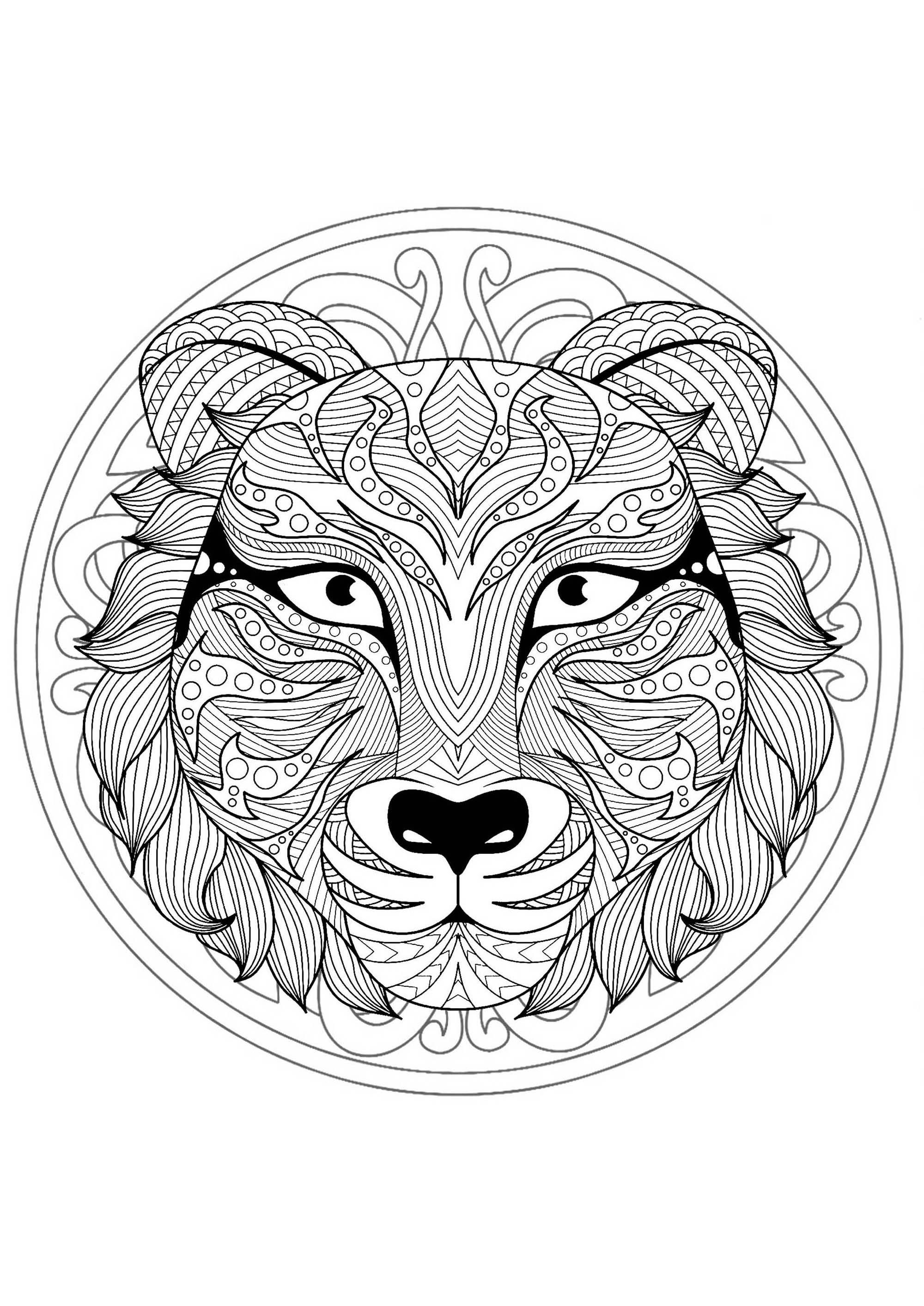 Mandala With Gorgeous Wolf Head And Geometric Patterns