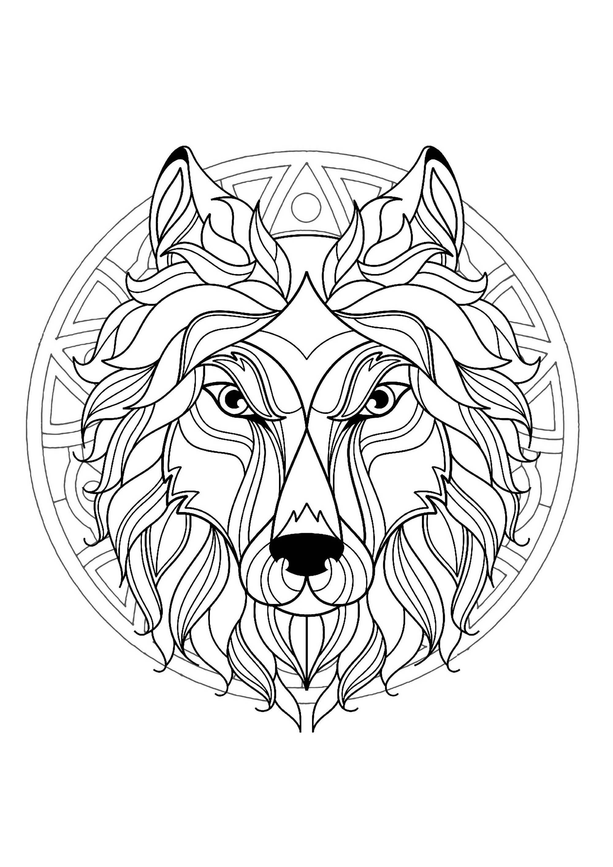 Mandala with beautiful Wolf head and superb geometric ... | colouring pages mandala animals