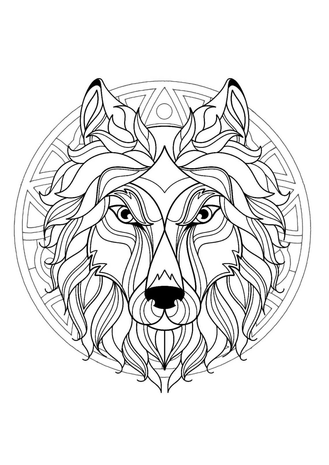 Mandala with beautiful Wolf head and superb geometric ... | colouring pages mandala animals