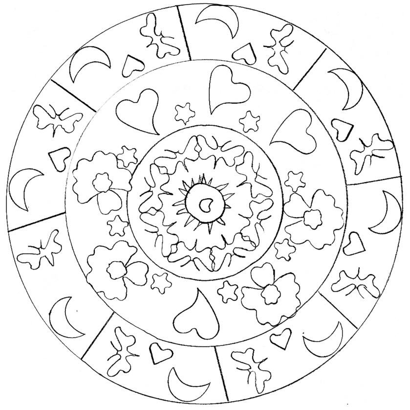 hearts mandala  m&alas adult coloring pages