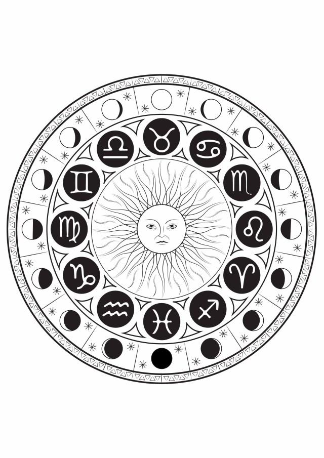 Astrological signs mandala - Mandalas Adult Coloring Pages