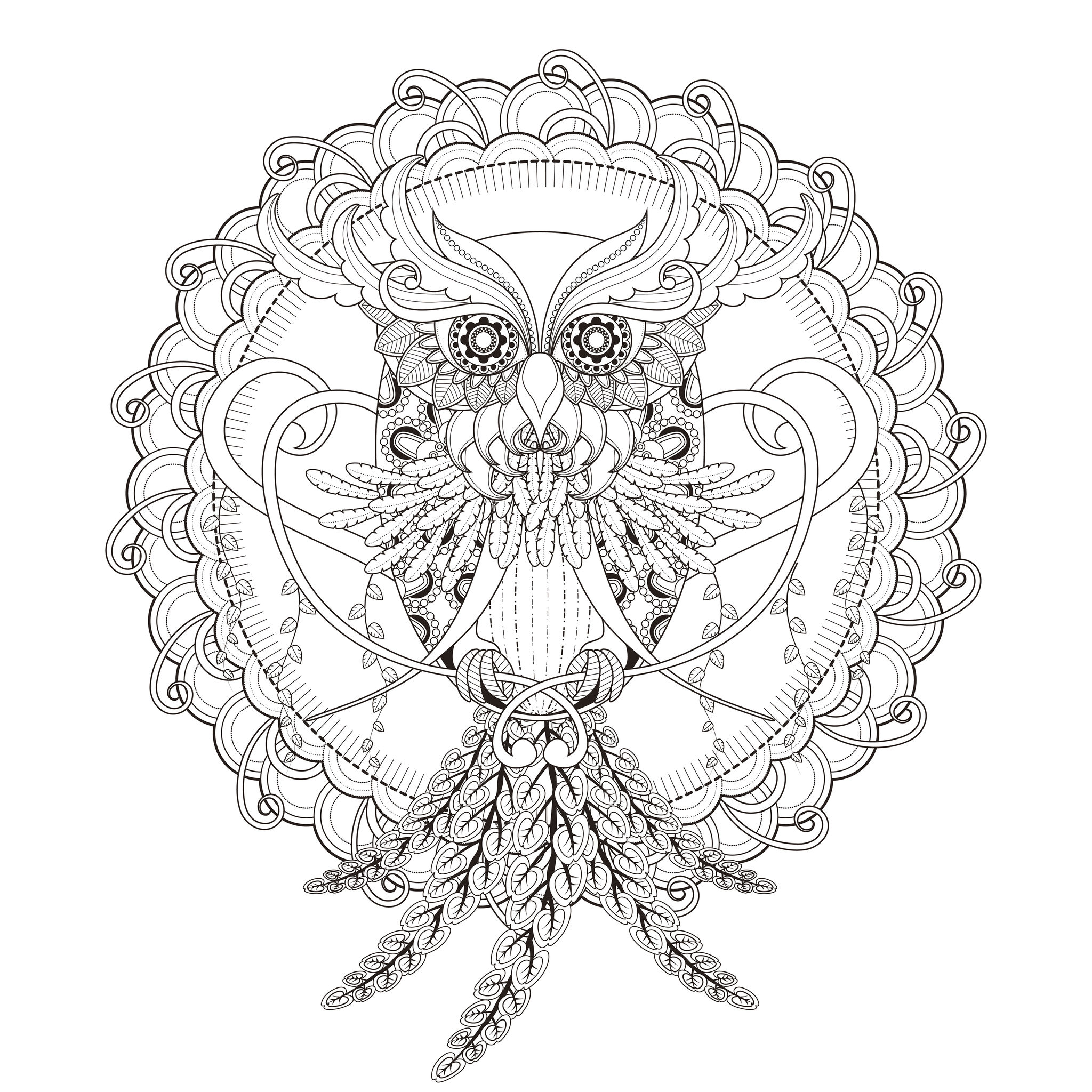 Mandala Owl By Kchung Mandalas Coloring Pages For Adults