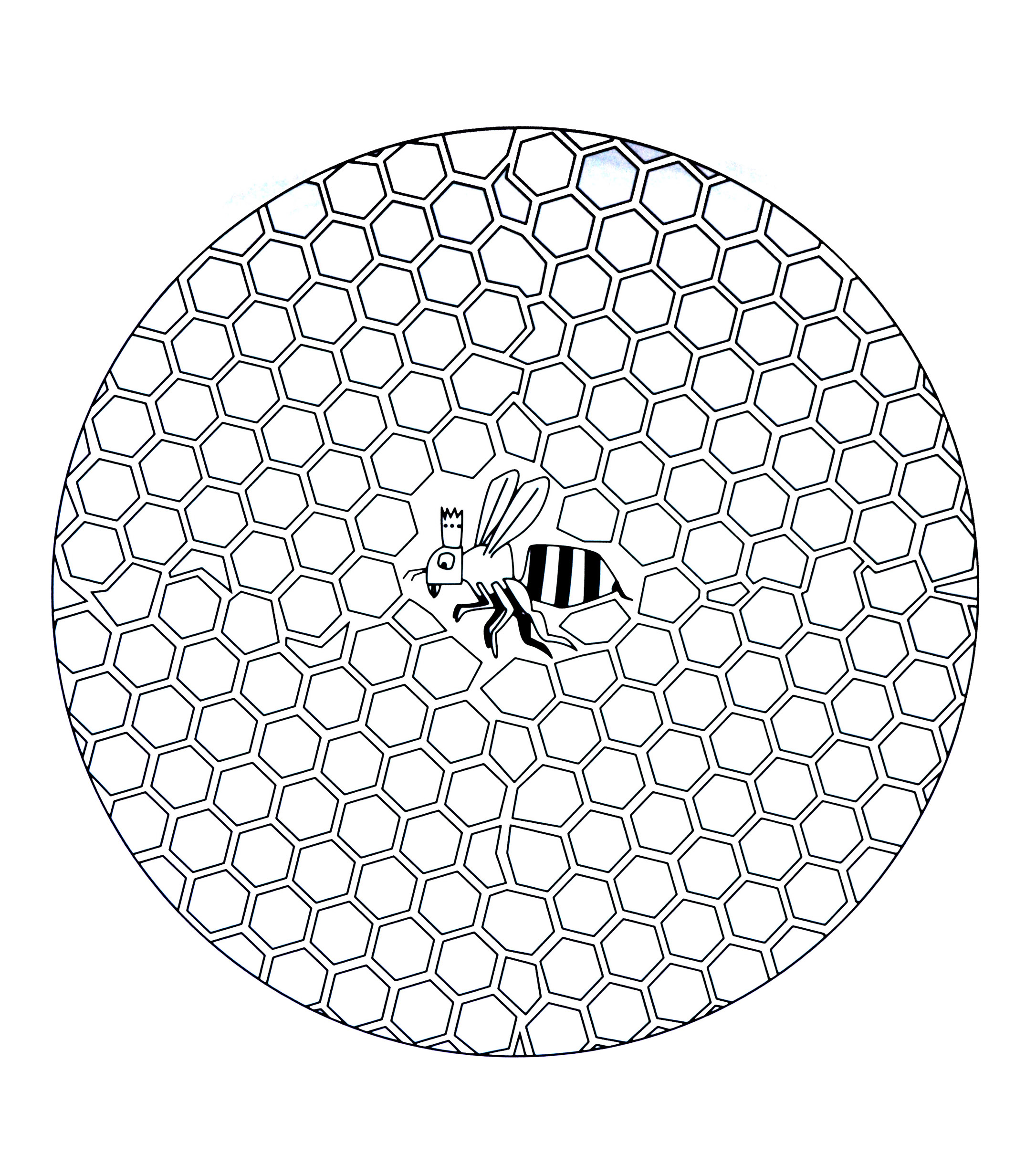 Free Mandala To Color Bee In Hive