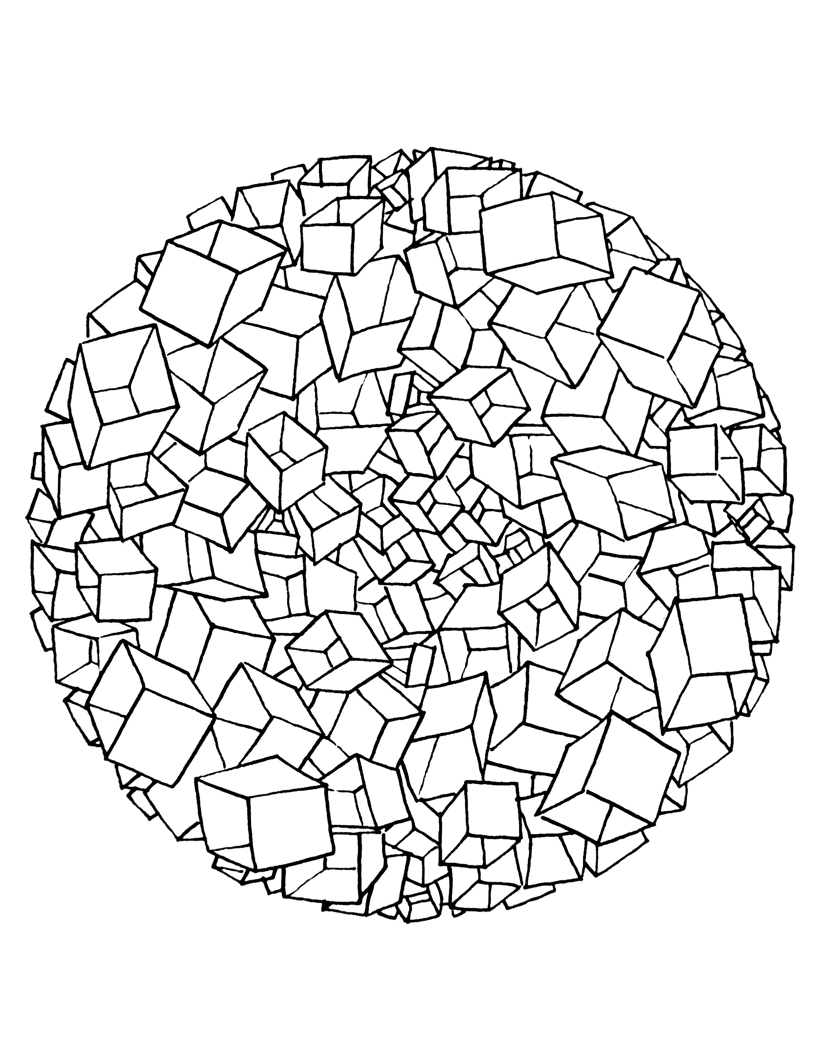 Free Mandala To Color Cubes 3d