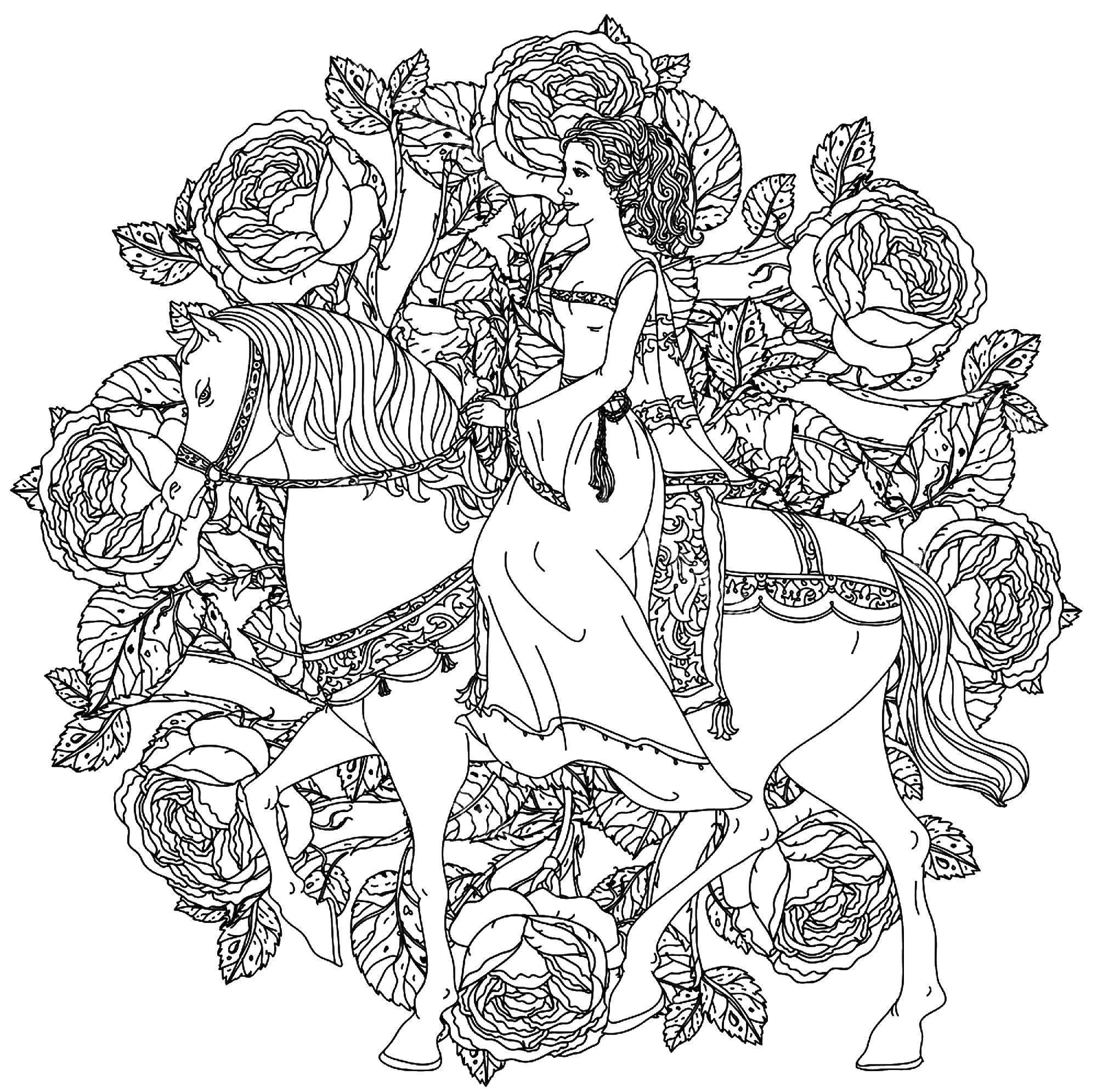 Mandala Plex Princess And Horse Mandalas Coloring Pages For