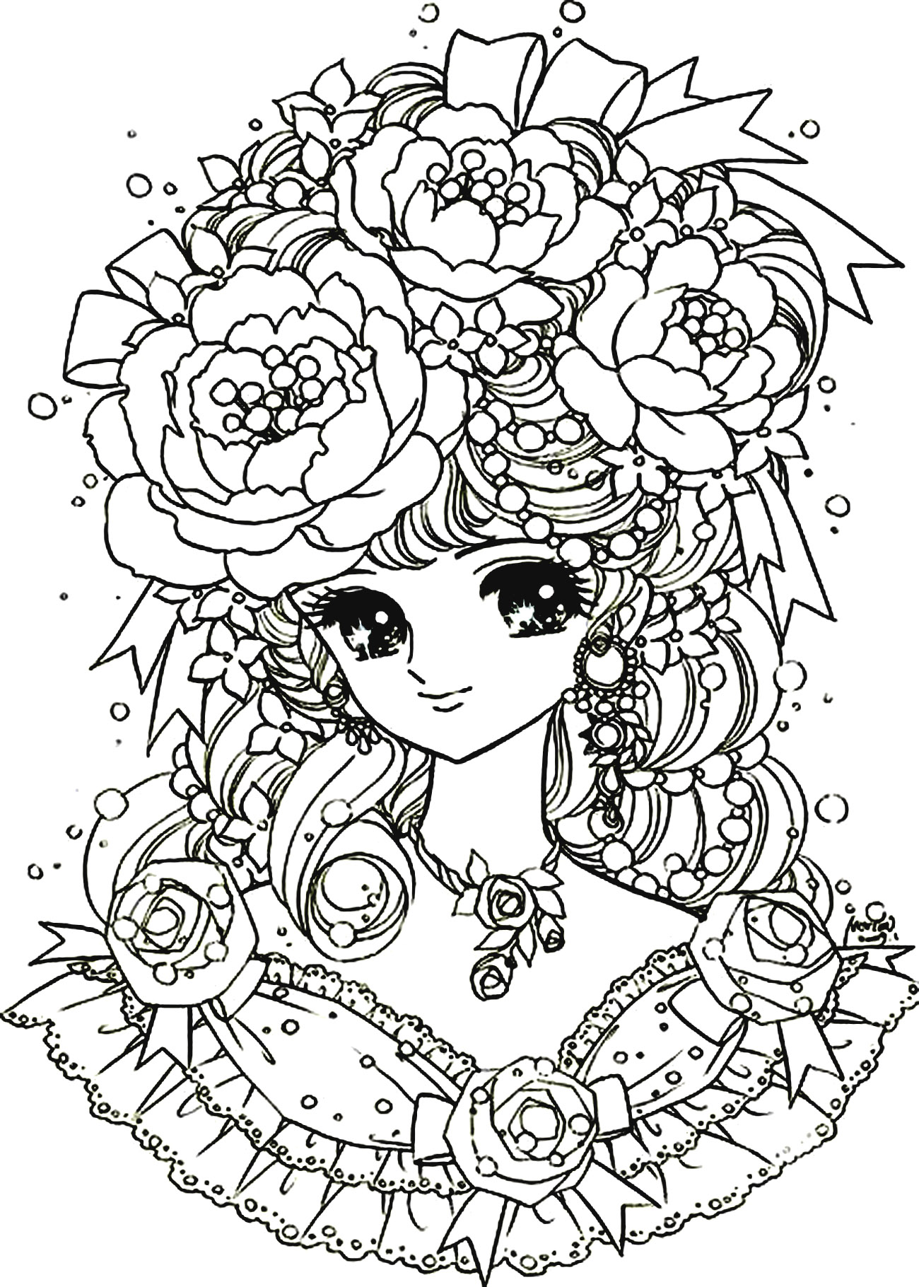 Manga Flowers Girl Manga Anime Coloring Pages For Adults