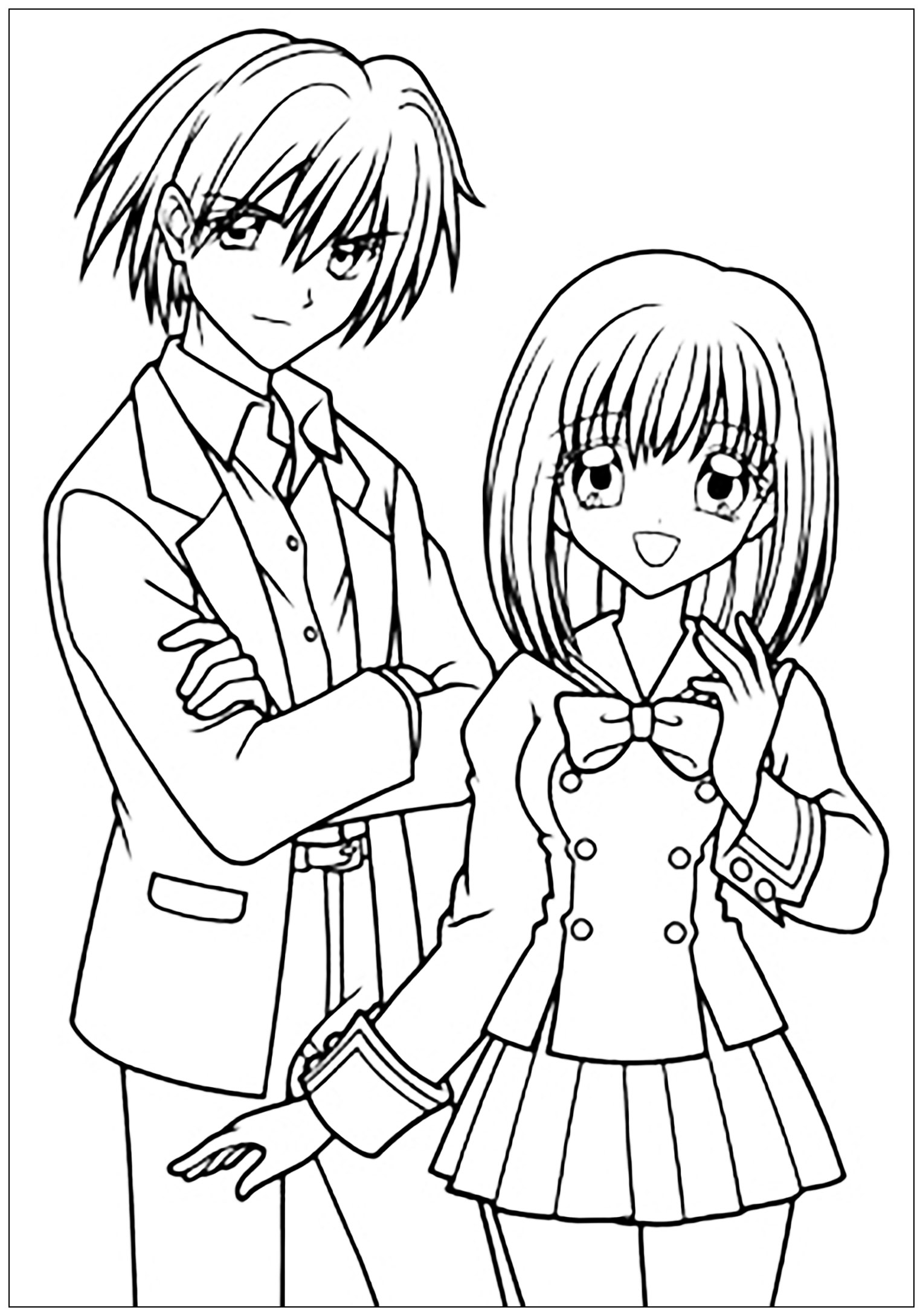 Manga Drawing Boy And Girl In School Suit