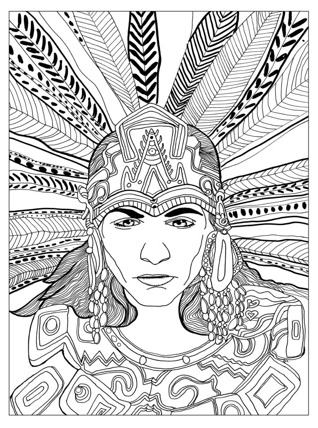 Chief mayan - Mayans & Incas Adult Coloring Pages