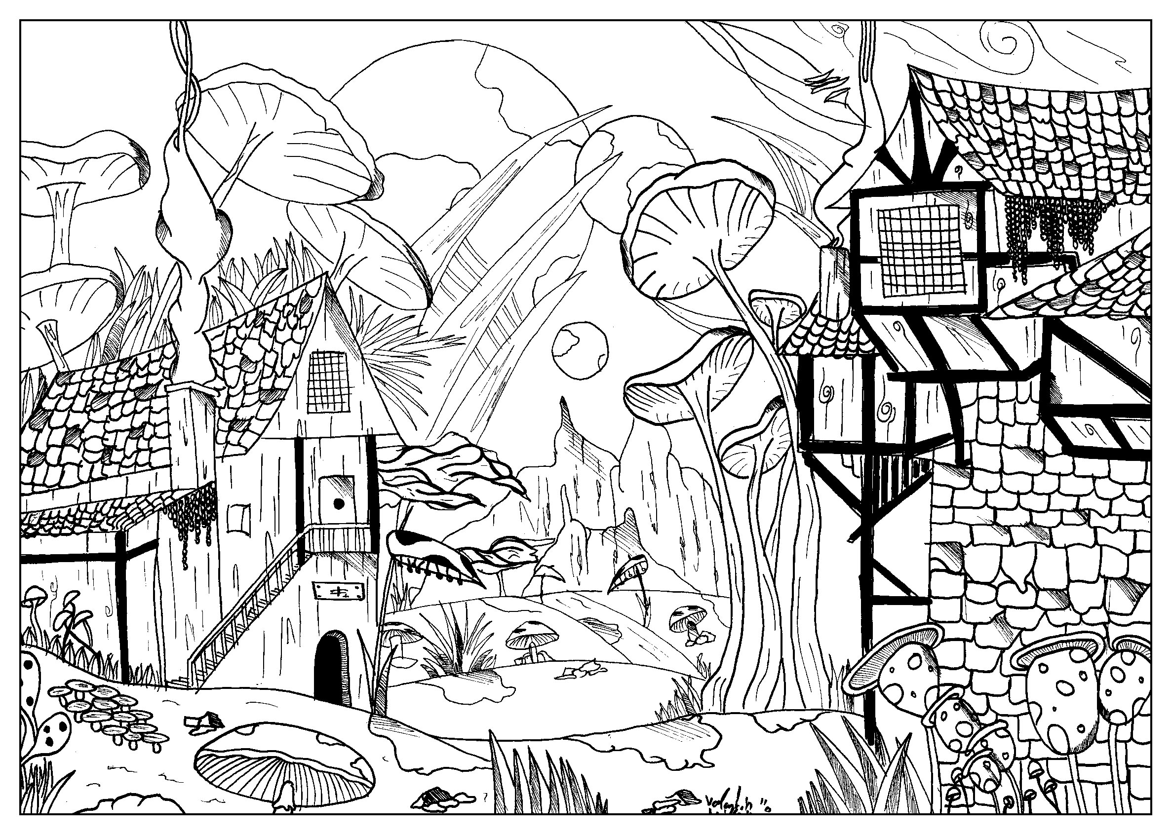 Landscape By Valentin Myths Legends Coloring Pages For