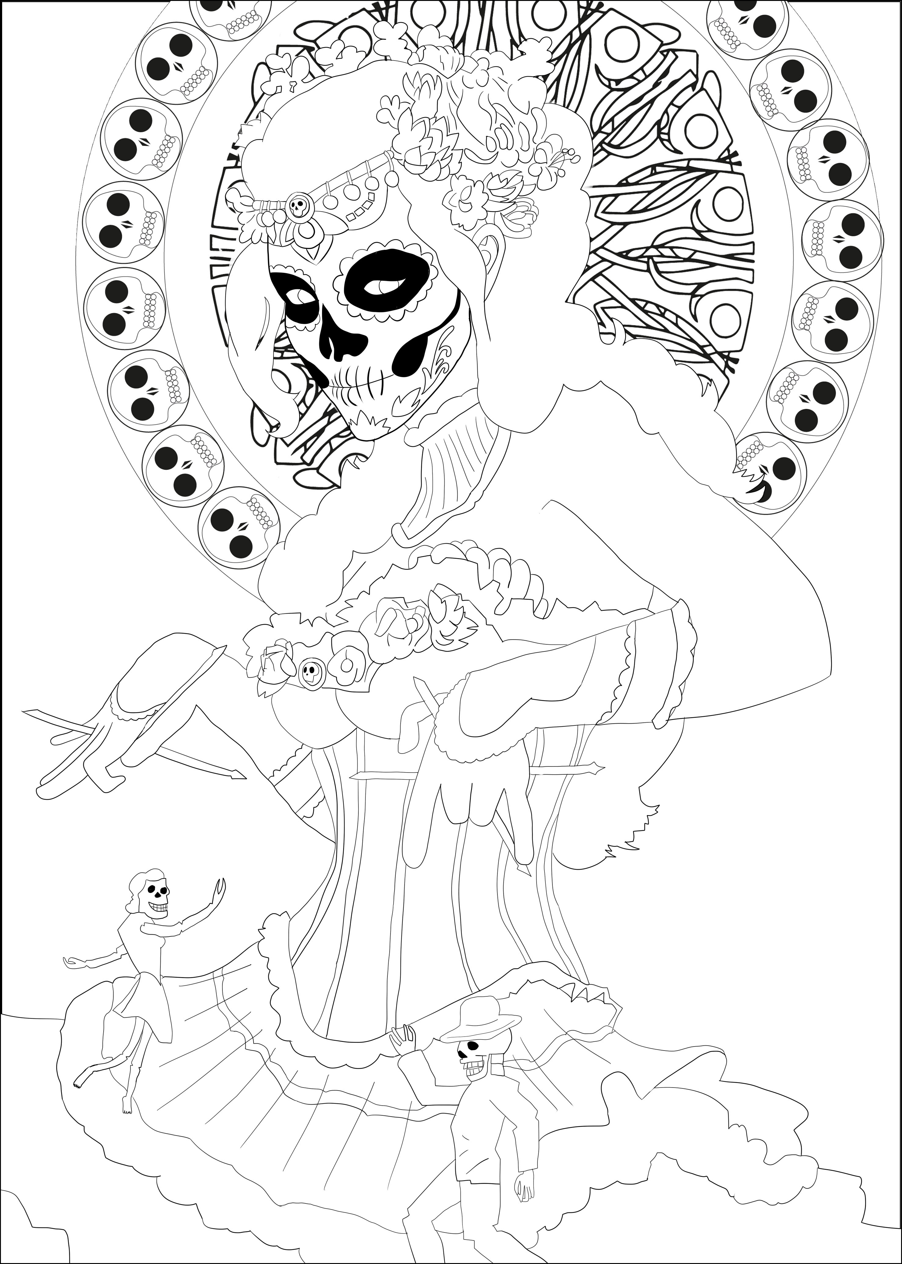 Dia De Los Mertos 1 Jim Coloring Pages For Adults Justcolor