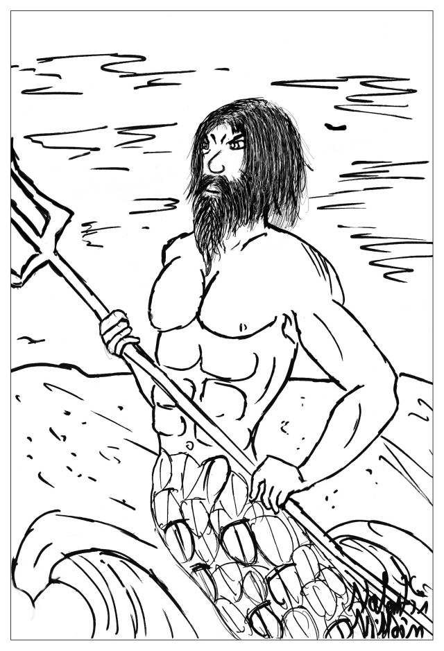 Poseidon valentin - Myths & legends Adult Coloring Pages