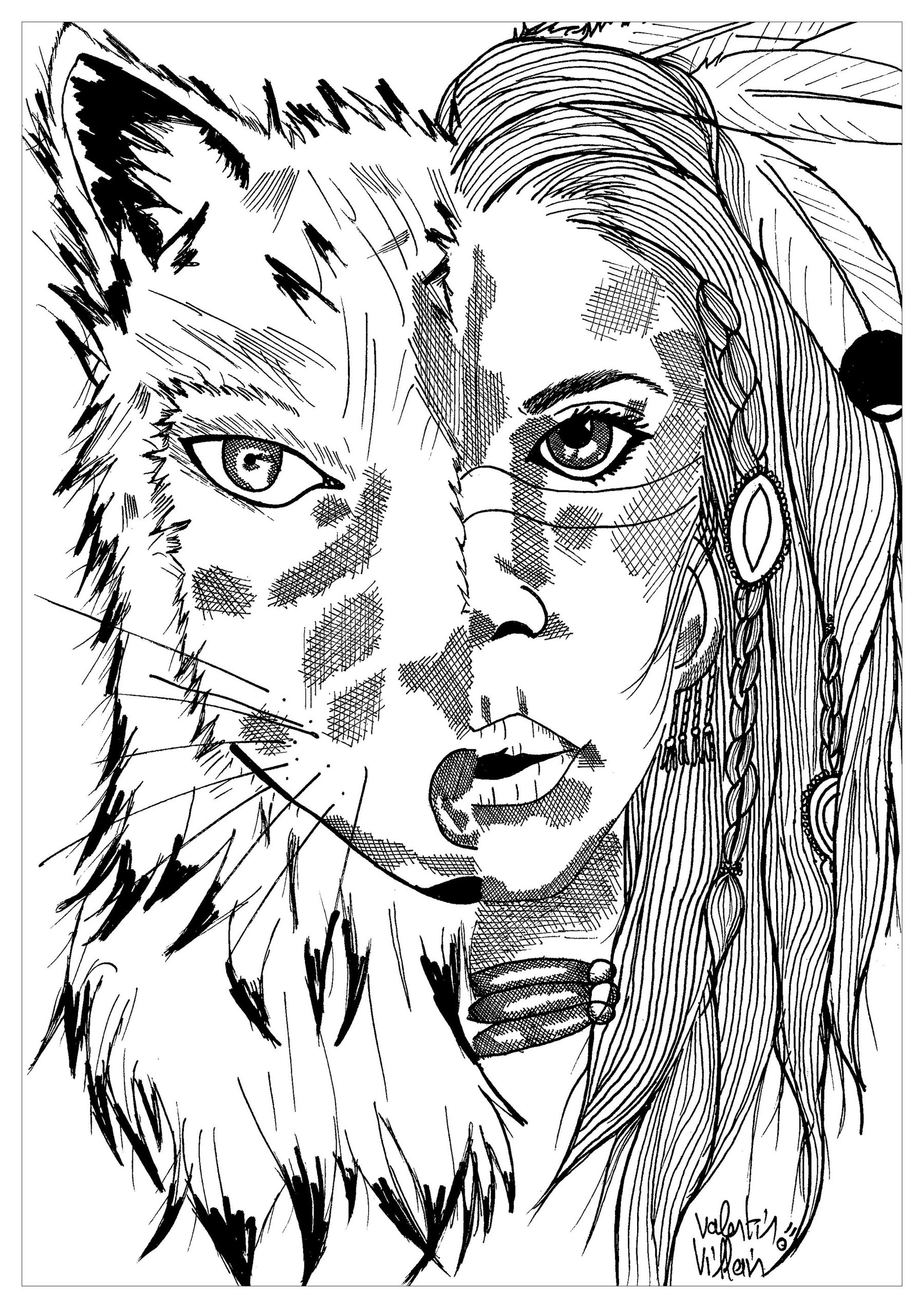 Indian Wolf Par Valentin Native American Coloring Pages For