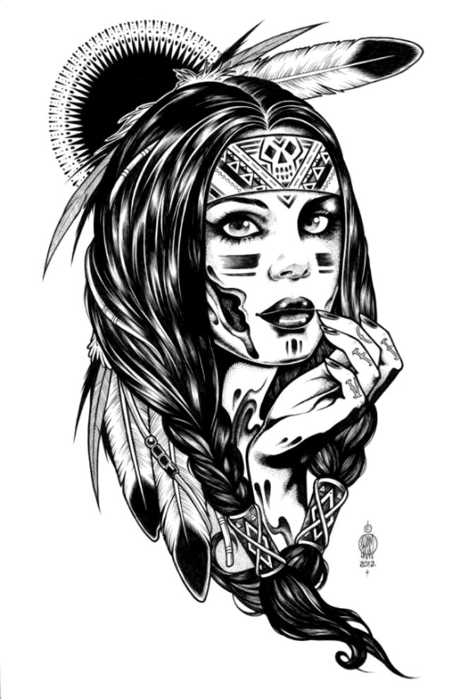 Native indian american woman - Native American Adult Coloring Pages