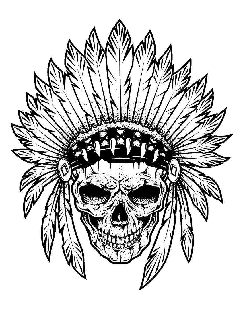 indian chief skull  native american adult coloring pages