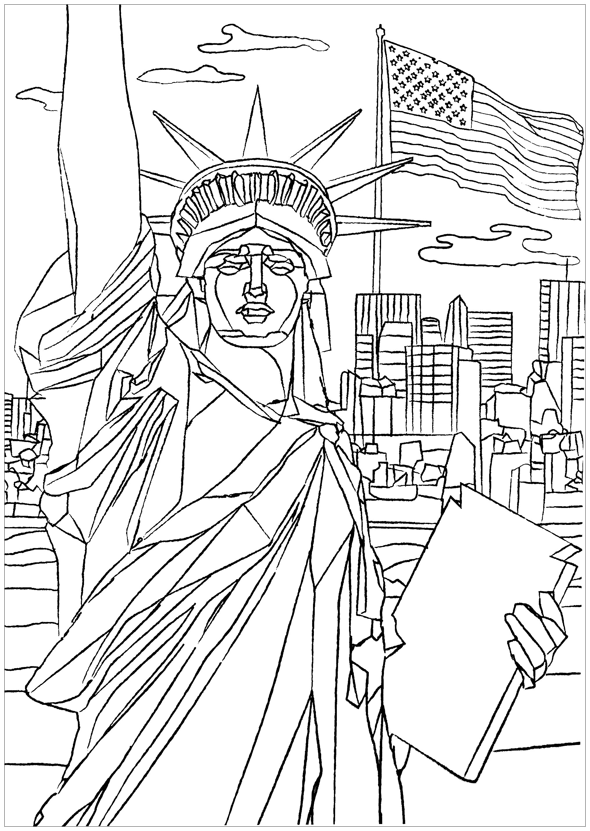 Statue Of Liberty In New York New York Adult Coloring Pages