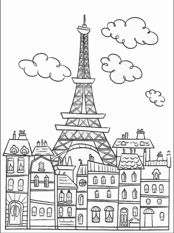 eiffel tower coloring pages # 13