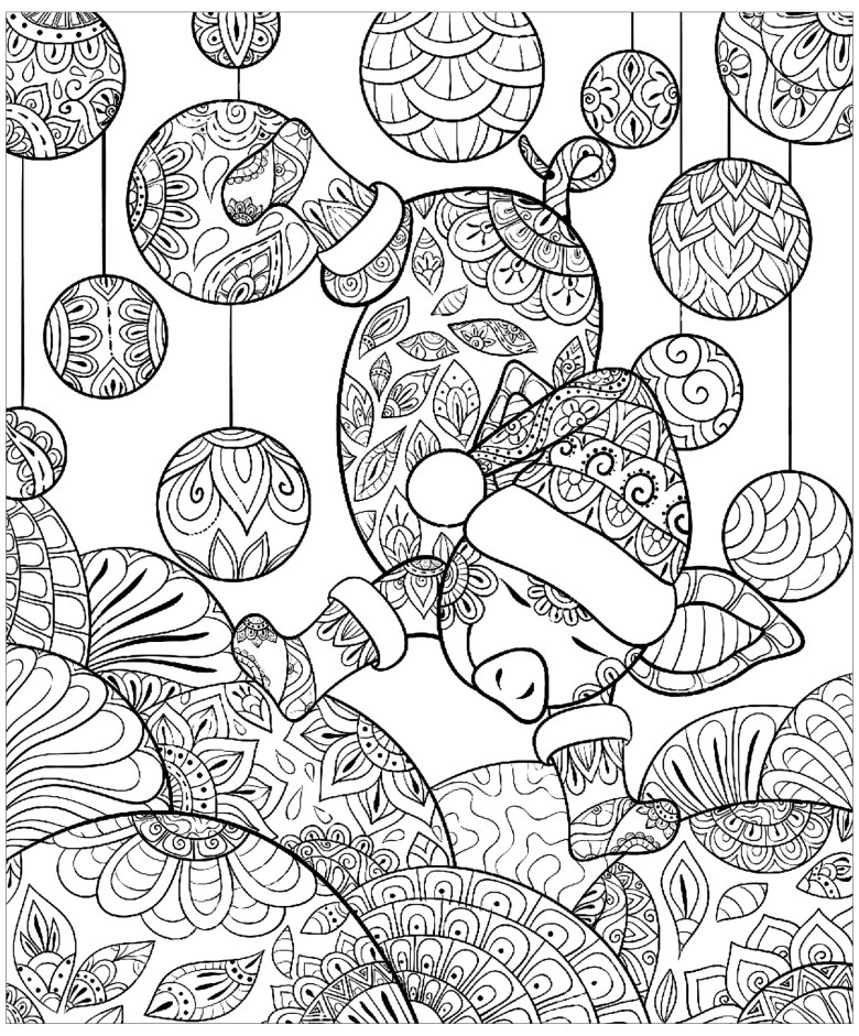 pig christmas zentangle - pigs adult coloring pages