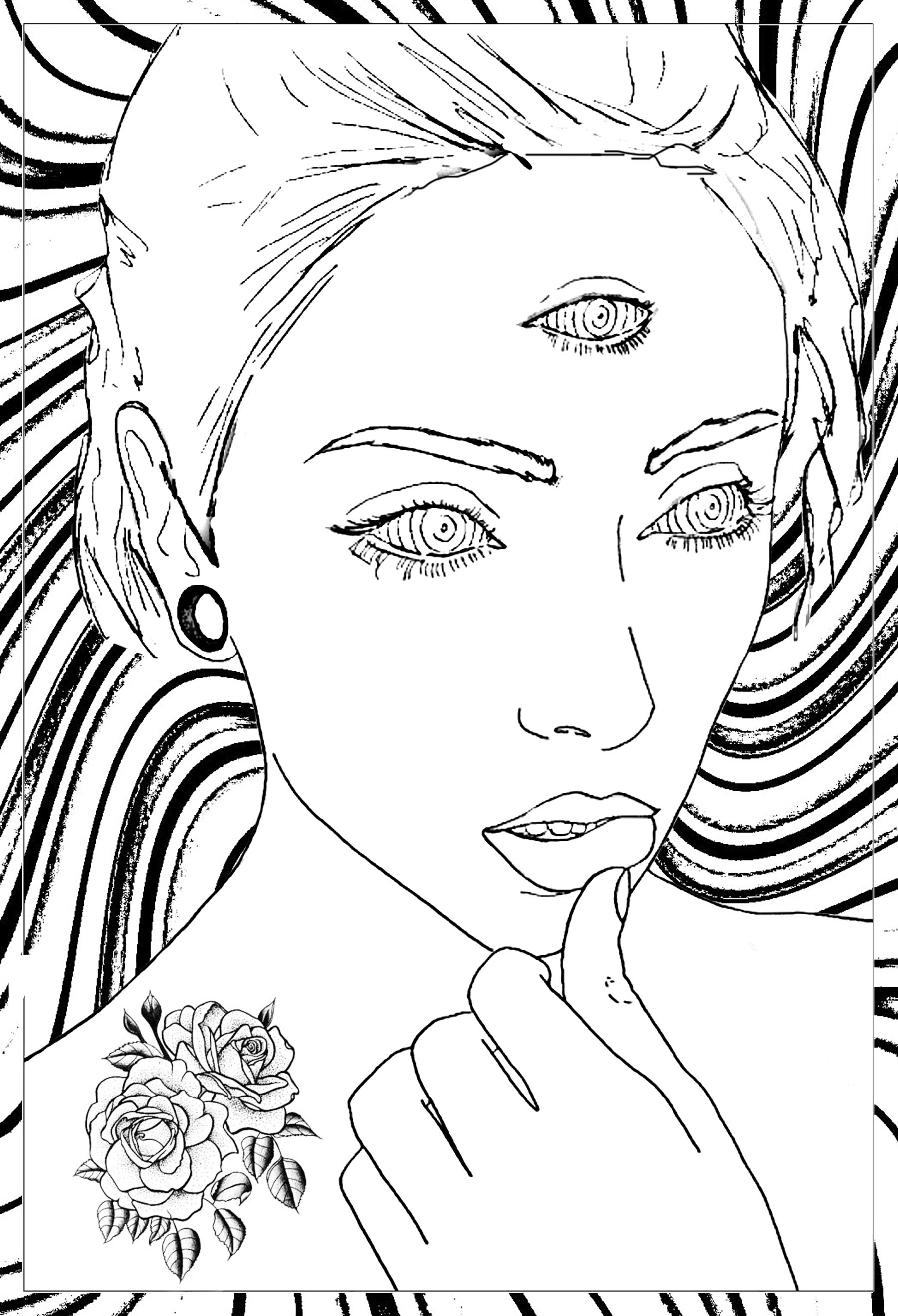 Thoughtful Woman Psychedelic Coloring Pages For Adults Justcolor