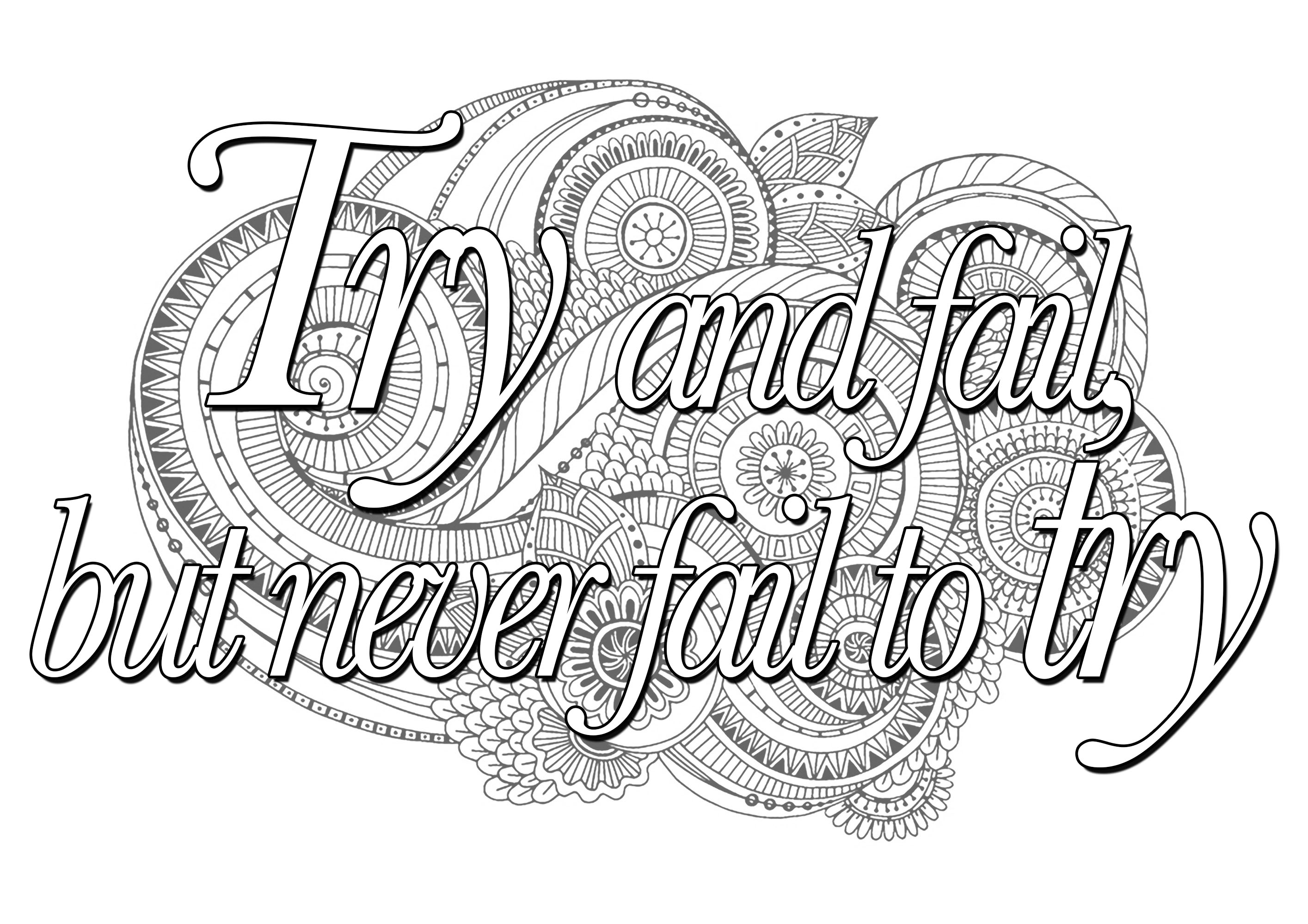 Quote Try And Fail But Never Fail To Try Quotes Coloring Pages