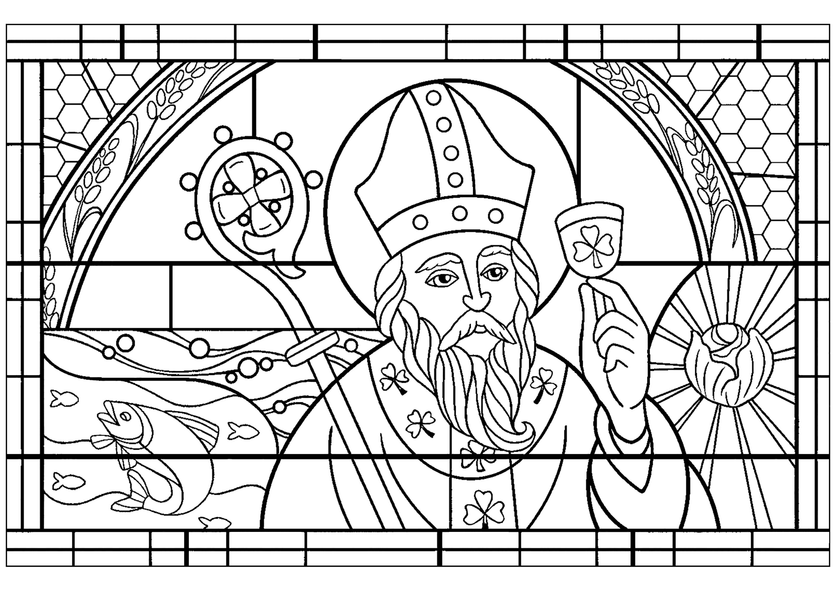 Saint Patrick Stained Glass Style