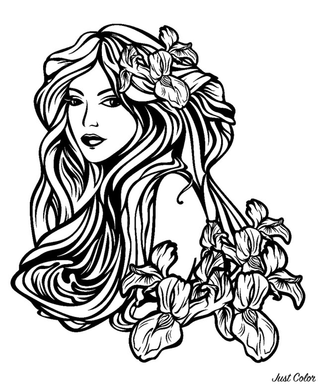 Woman with long hair among flowers - Tattoos Adult Coloring Pages