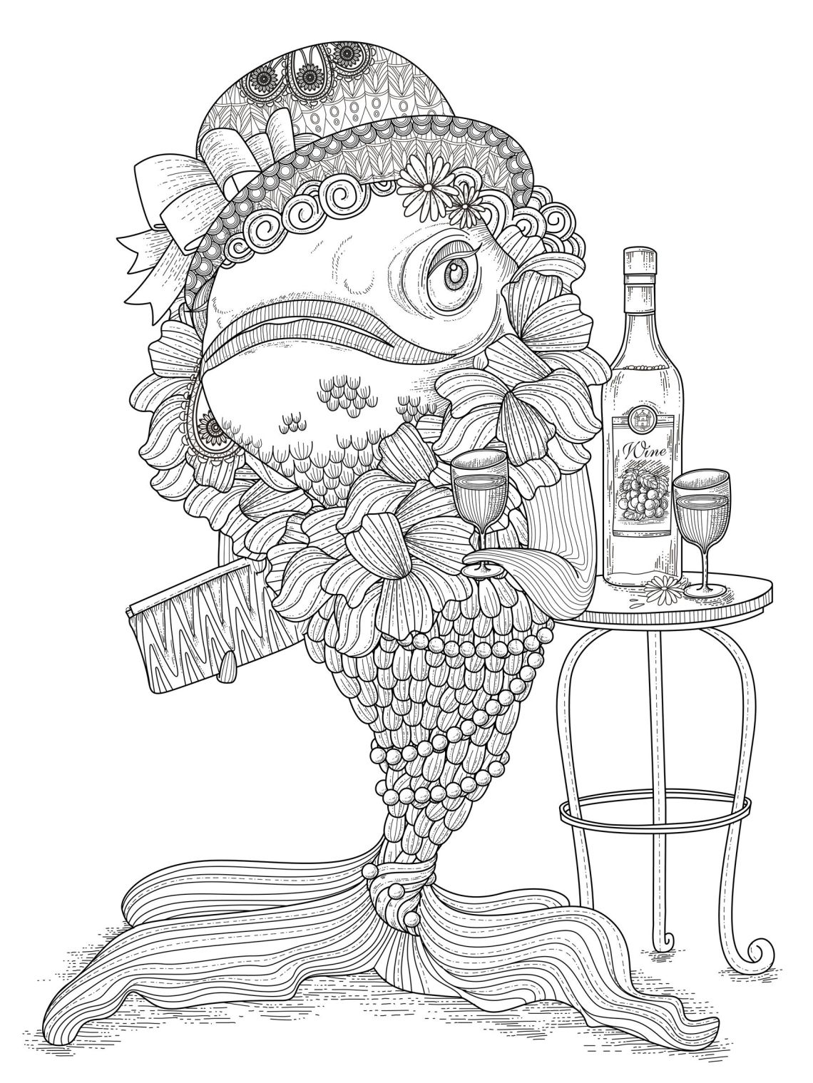 Fish humour - Water worlds Adult Coloring Pages | colouring pages for adults funny