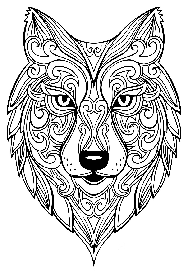 Wolf 2 Wolves Adult Coloring Pages