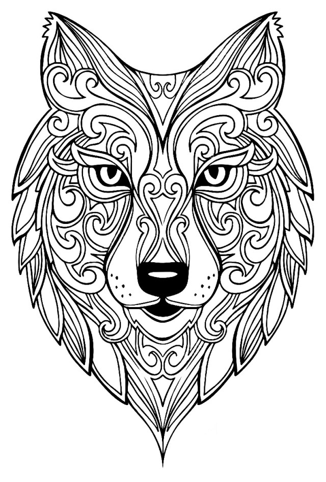 Wolf 12 - Wolves Adult Coloring Pages