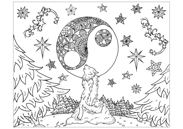 Wolf and Mandala moon - Wolves Adult Coloring Pages