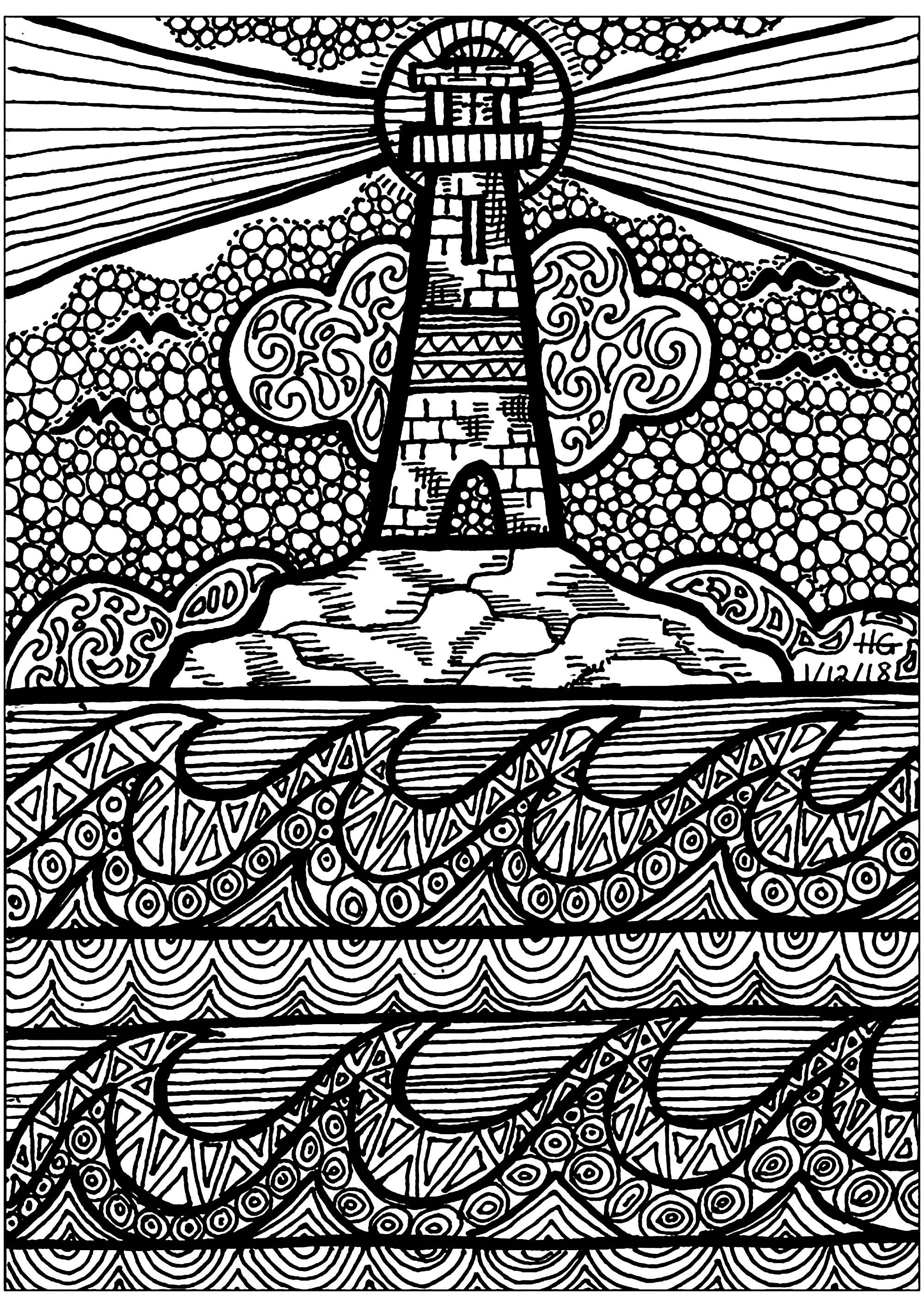 Lines Of The Lighthouse Zentangle Adult Coloring Pages
