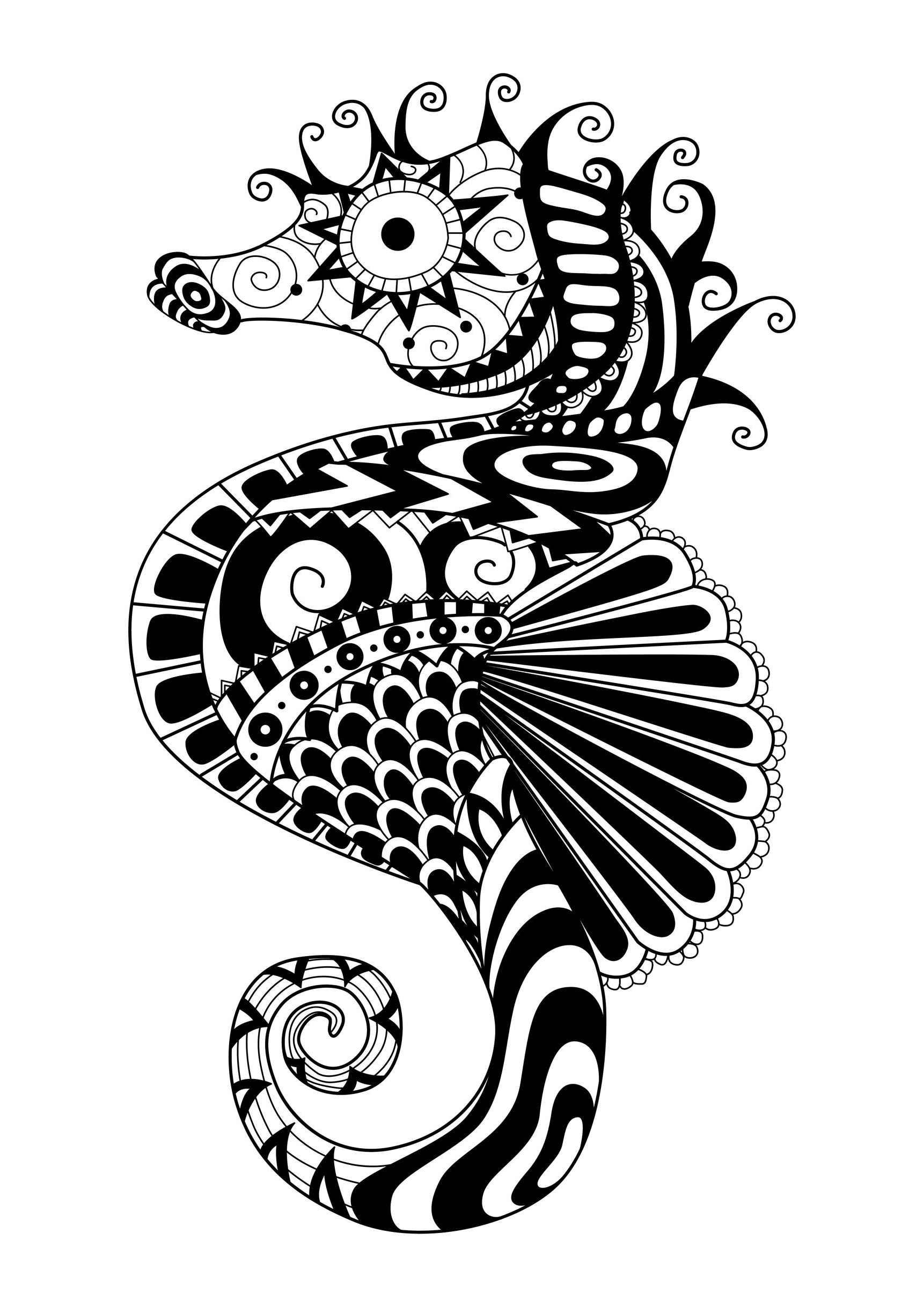 Zentangle Sea Horse Zentangle Adult Coloring Pages