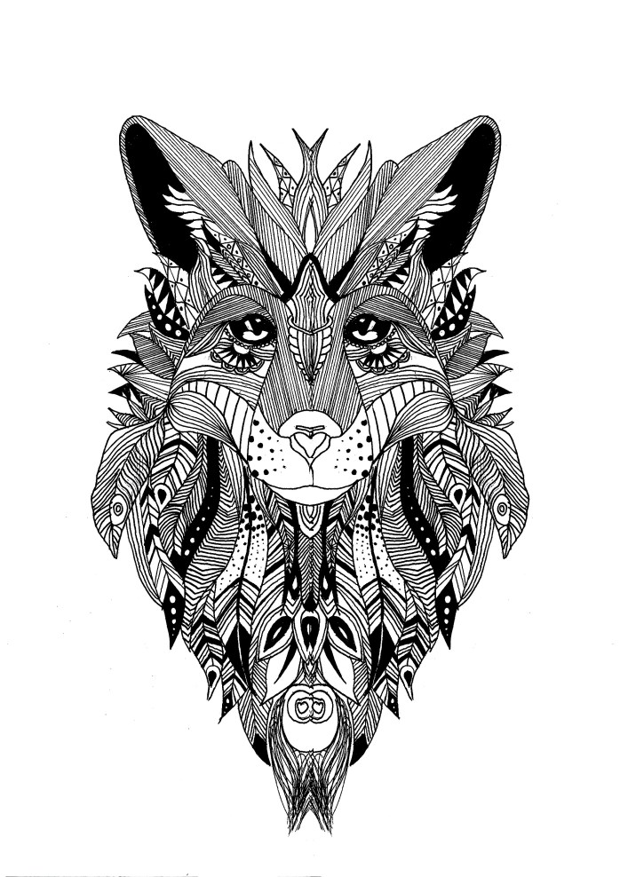 Coloring page a wolf drawn with the style of zentangle and some feathers in his fur