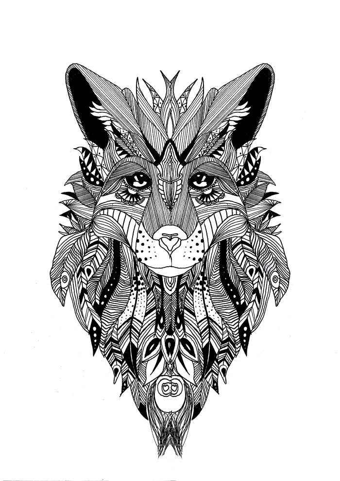 free adult coloring pages, Coloring page a wolf drawn with the style of zentangle and some feathers in his fur