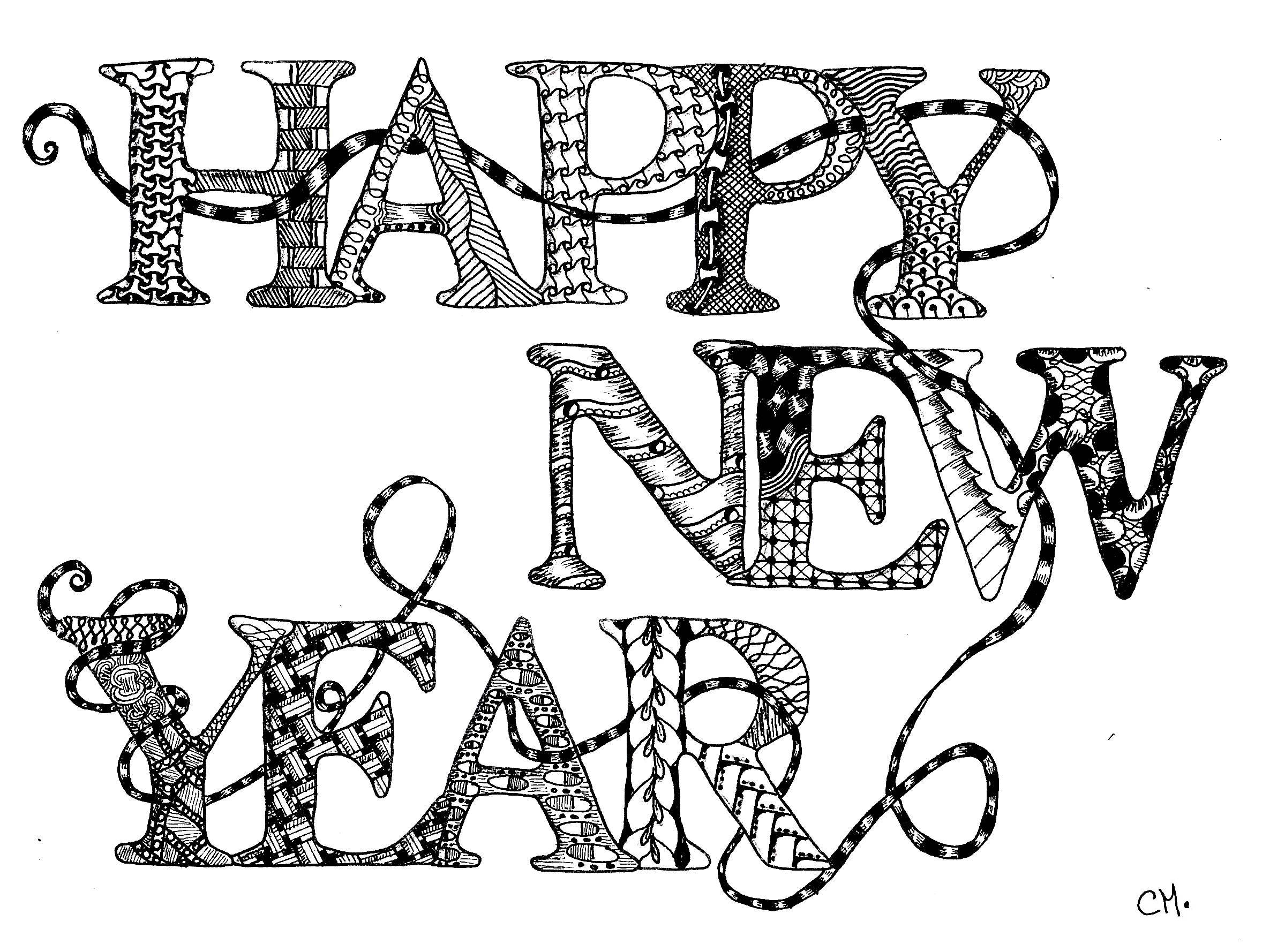 Zentangle Happy New Year By Cathym Zentangle Coloring Pages