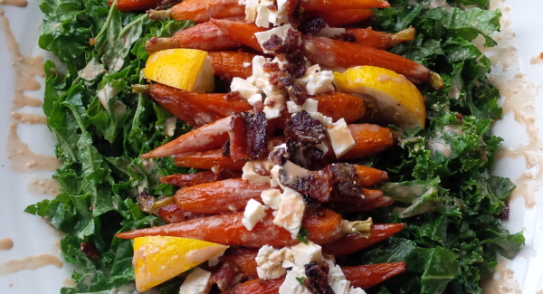 Honey Glazed Roasted Carrot and Kale Salad with Candied Bacon, Feta and Chestnuts