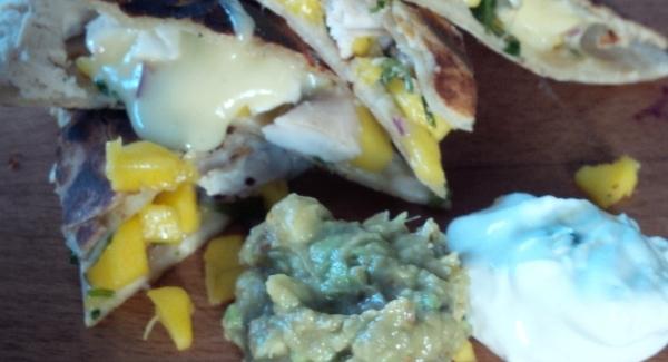 Chicken, Brie and Mango Salsa Quesadillas
